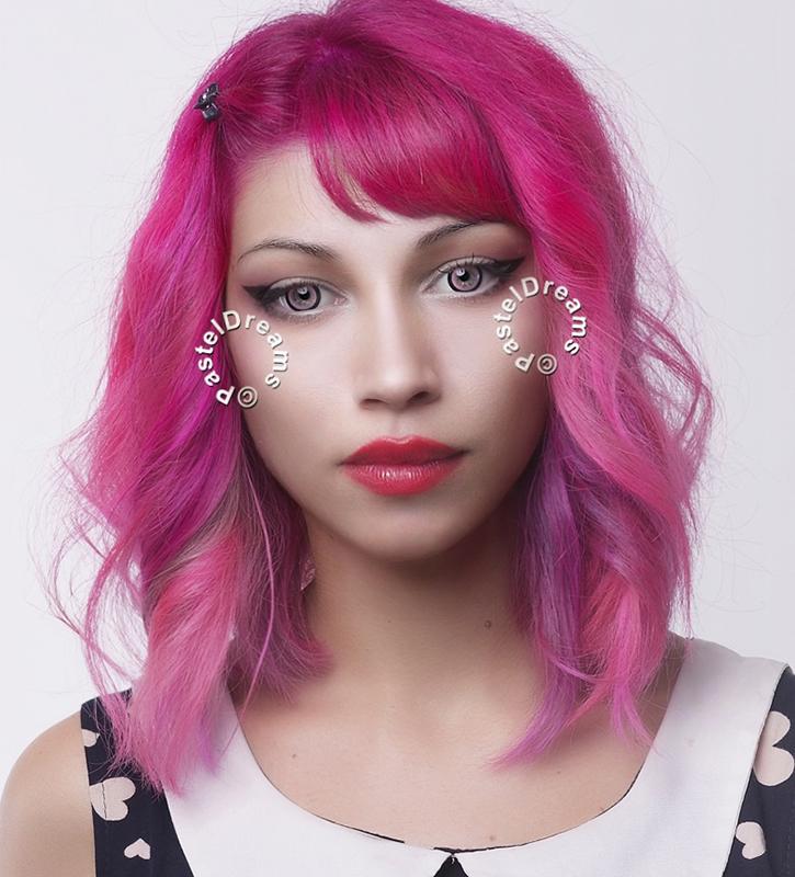 candy pink 208 EOS circle lenses colored contact lenses dolly eyes big eyes kawaii eyes lolita model chrysanthi