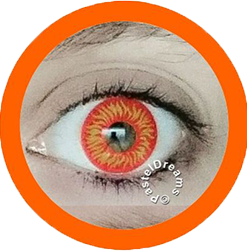 flame orange yellow theatrical lenses, colored contact lenses cosplay lenses, circle lenses, colored contacts, costume lenses, halloween lenses