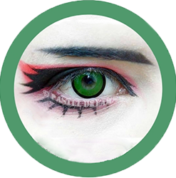 green manson colored contact lenses, halloween lenses, crazy lenses, red contacts, vampire eyes,theatrical lenses