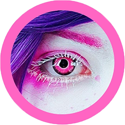 Pink Demon pink cosplay contact lenses, costume lenses,colored lenses, colored contacts,halloween, anime lenses, big eyes
