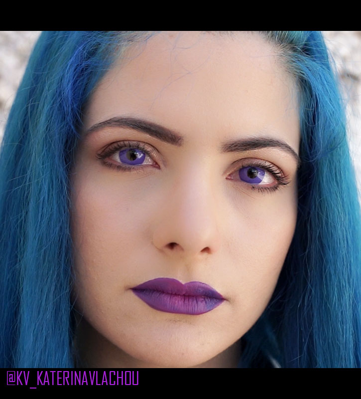 purple violet out colored lenses crazy lenses vibrant purple violet circle lenses halloween model  @KV_KATERINAVLACHOU