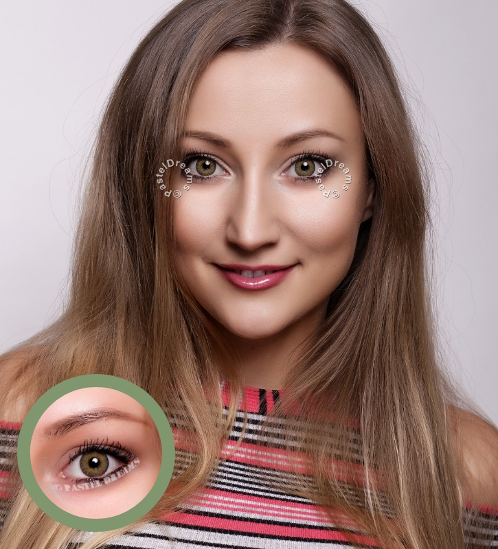 freshtone jade green cosmetic contact lenses, circle lenses, colored contacts