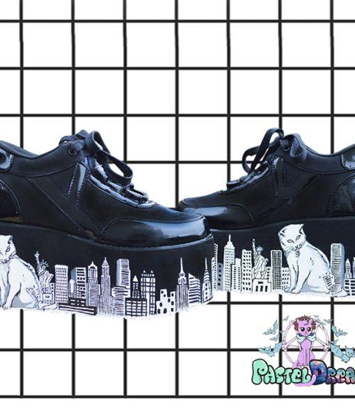 catzilla in new york ny yru platforms handpainted by pastel-dreams nugoth kawaii