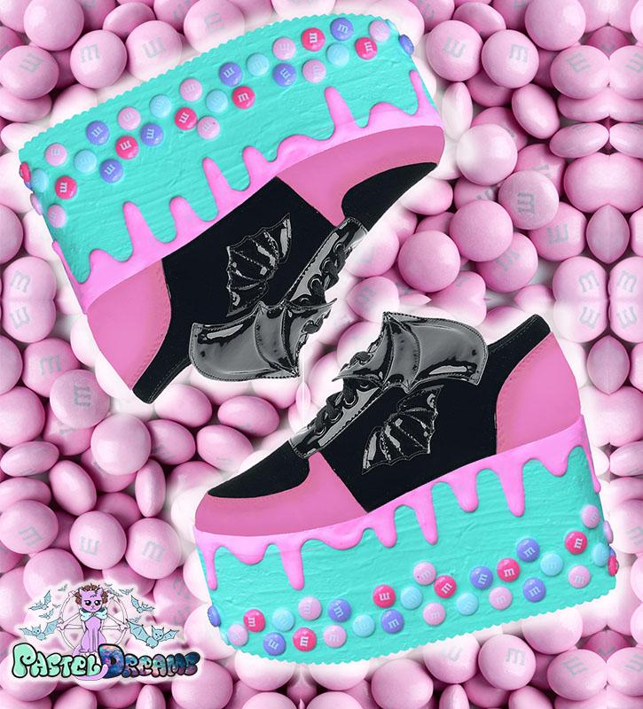 candyholic yru platforms handpainted by pastel-dreams nugoth kawaii pastel goth harajuku