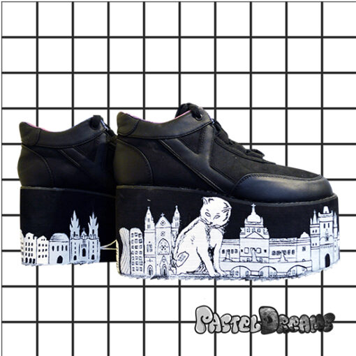 catzilla in prague yru platforms handpainted by pastel-dreams nugoth kawaii