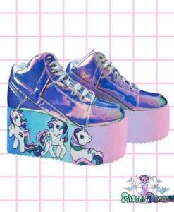 my little pony yru atlantis platform shoes,mlp, edm shoes, flatform, hand painted, kawaii, fairy kei, party kei, harajuku