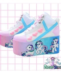 my little pony retro yru rarity platform trainer shoes on galaxy backgrouns handpainted by pastel-dreams nugoth kawaii harajuku