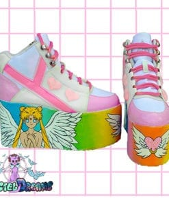 princess serenity yru sailor moon hand painted platform trainers shoes kawaii cute pastel harajuku anime