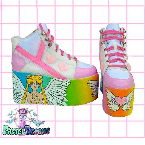 princess serenity yru sailor moon hand painted platform trainers shoes kawaii cute pastel harajuku anime