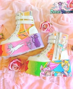 sailor moon demonia platform shoes,usagi,luna,artemis,chibi moon, edm shoes, flatform, hand painted, kawaii, fairy kei, party kei, harajuku