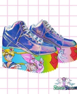 sailor moon yru Atlantis platform shoes,usagi,luna,artemis,chibi moon, edm shoes, flatform, hand painted, kawaii, fairy kei, party kei, harajuku