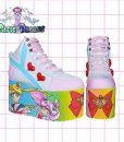 yru sailor moon hand painted platform trainers shoes kawaii cute pastel harajuku anime