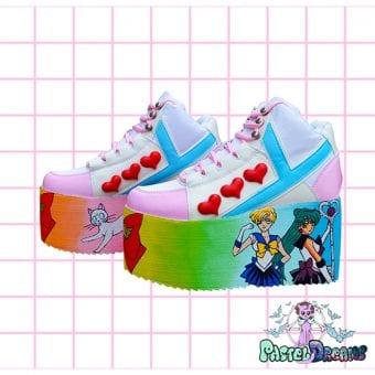 sailor uranus - pluto yru sailor moon hand painted platform trainers shoes kawaii cute pastel harajuku anime