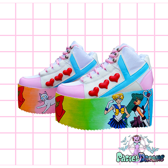 sailor uranus - pluto yru sailor moon hand painted platform trainers shoes kawaii cute pastel harajuku anime