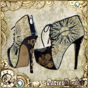 steampunk ankle boots custom pastel dreams compass pattern beautiful
