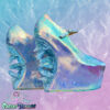 blue iridescent heel less custom made shoes with hand cast crystals cute kawaii harajuku crystal cascade