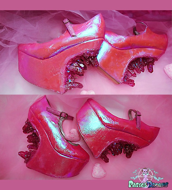 hot pink iridescent heel less custom made shoes with hand cast crystals cute kawaii harajuku crystal cascade