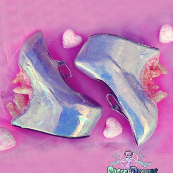 pink iridescent heel less custom made shoes with hand cast crystals cute kawaii harajuku crystal cascade