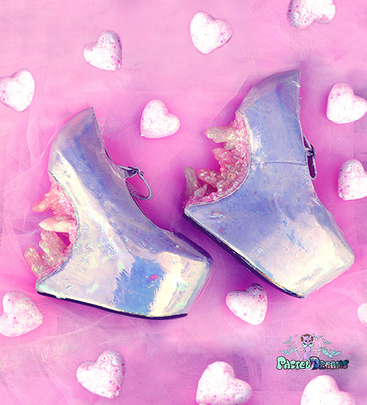 custom made heels one of the kind, crystal cascade heels