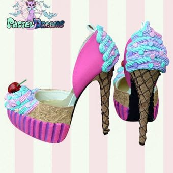 hand crafted custom made icecream cupcake heels by pastel-dreams kawaii cute sweet pink harajuku