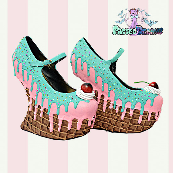 c02f6cb07eedb Drippy Ice cream/Waffle heel less Wedges