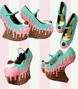 drippy heel less heels wedges waffle  pink-teal collage