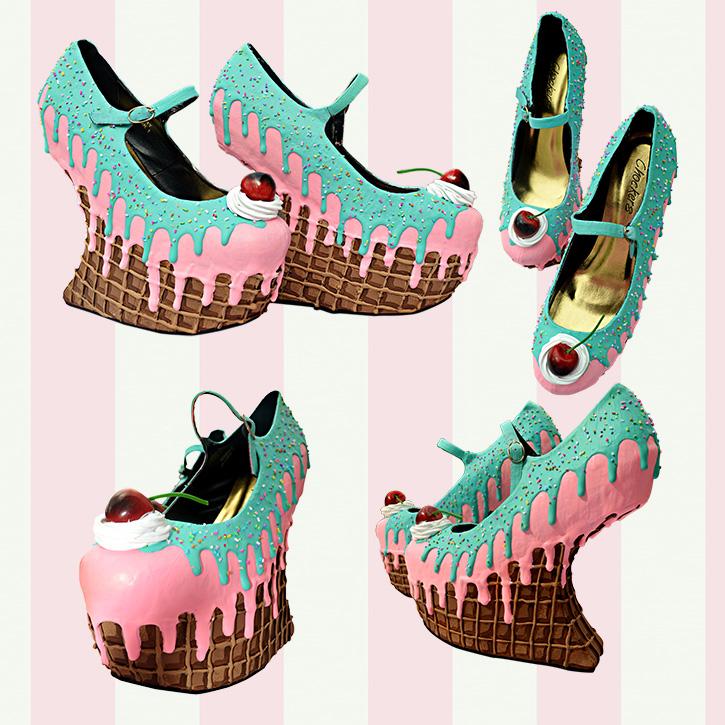 8141e4c755 ice cream cupcake cake waffle heel less wedges custom shoes pastel goth  kawaii cute sugar sweet
