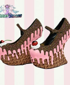 ice cream cupcake cake waffle heel less wedges custom shoes pastel goth kawaii cute sugar sweet harajuku candy