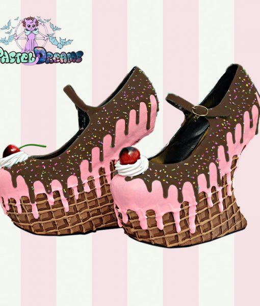 ice cream cupcake cake waffle heel less wedges custom shoes pastel goth kawaii cute sugar sweet harajuku candy