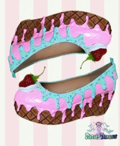 pink turquoise flatform shoes icecream cake heels