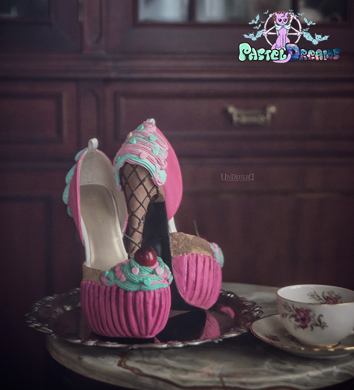 hand crafted custom made icecream cupcake heels by pastel-dreams
