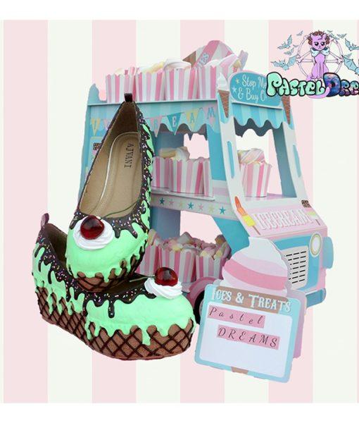 mint green choco flatforms custom handmade pastel dreams ice cream cake pastel cute kawaii sweet