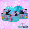 my little sea pony yru platform trainer shoes sandals on bubblegum poastel backgrouns handpainted by pastel-dreams nugoth kawaii harajuku