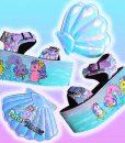my little sea pony yru platform trainer shoes sandals on bubblegum poastel backgrouns handpainted by pastel-dreams nugoth kawaii harajuku