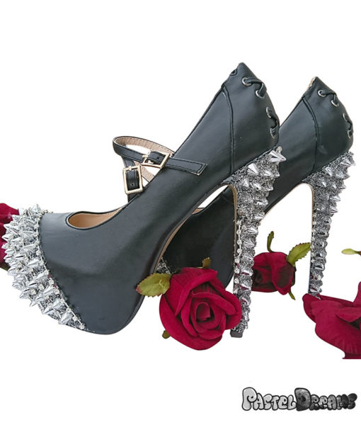 punkxury high heels shoes custom made with studs and iron trimming by pastel-dreams model veronika scandale