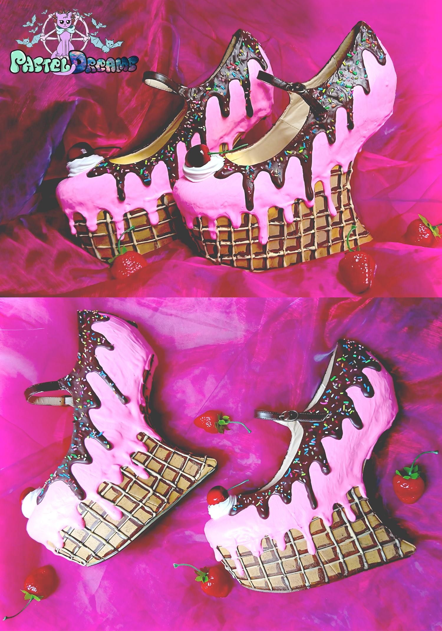 ice cream cupcake cake waffle heel less wedges custom shoes pastel goth kawaii cute sugar sweet harajuku candy heels
