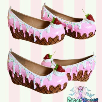 strawberry-vanilla icecream flatforms cake shoes