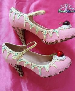 women's custom made cake mid heels shoes available in different flavors and all sizes