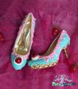 teal – strawberry mid heels 1
