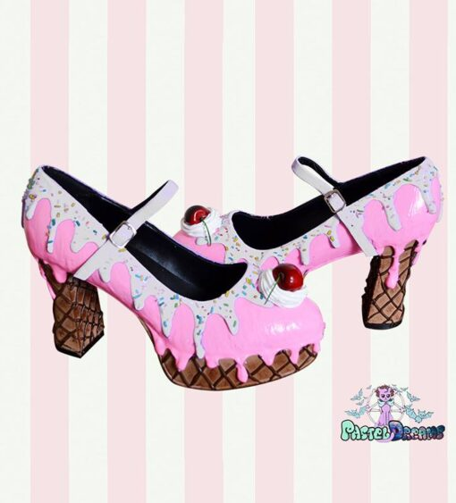 pleaser demonia dolly handmade custom pastel dreams kawaii cute cake ice cream shoes cherry