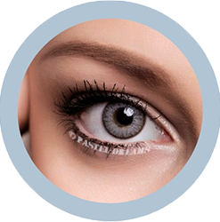 freshtone silver gray cosmetic contact lenses, circle lenses, colored contacts