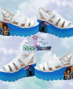 kikis delivery platform sandals handmade pastel dreams blue white kawaii cute harajuku