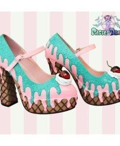 pleaser demonia dolly handmade custom pastel dreams kawaii cute cake ice cream shoes cherry