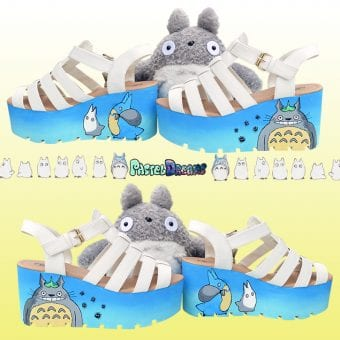 my neigbohur totoro sandals platforms blue white cute kawaii pastel dreams handmade harajuku