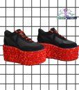 rose red rosa eden platform trainer shoes handpainted by pastel-dreams nugoth kawaii
