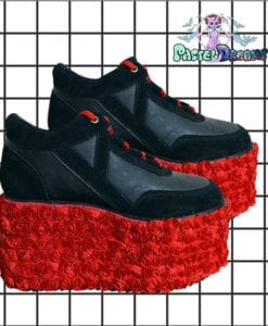 rose red rosa eden platform trainer shoes handpainted by pastel-dreams nugoth kawaii