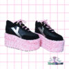 rose pink rosa eden platform trainer shoes handpainted by pastel-dreams nugoth kawaii