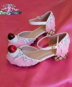 ice cream, cupcake, cake, custom shoes, pastel goth, kawaii, girls shoes in strawberry - vanilla