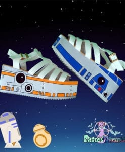 stars wars inspired sandals pastel dreams blue orange droids cute kawaii sweet harajuku