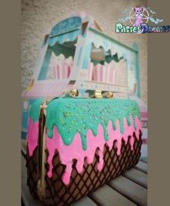 icecream pink-lavender flat shoes plus matching cake bag, kawaii, handmade,fairy kei, lolita, wedding shoes,wedding bag